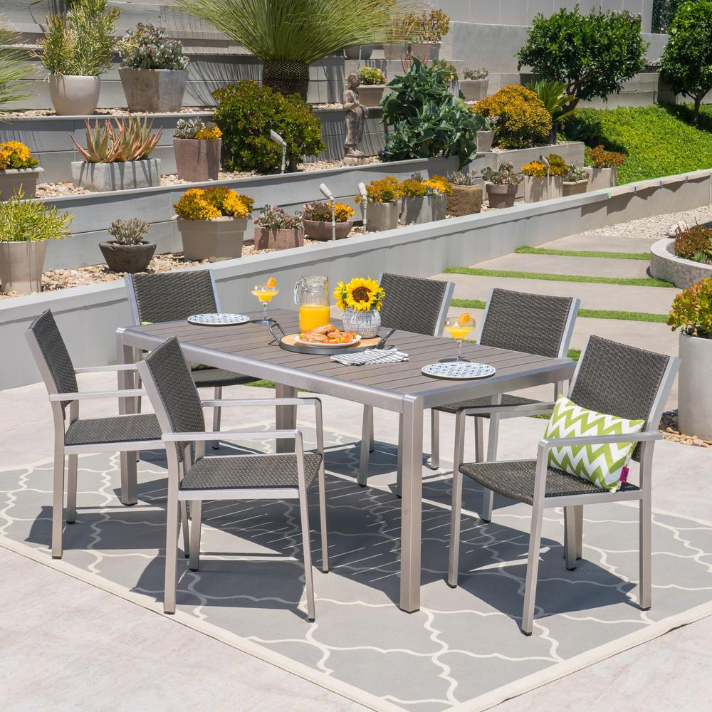 Noble House Cape Coral Silver 7-Piece Aluminum And Wicker