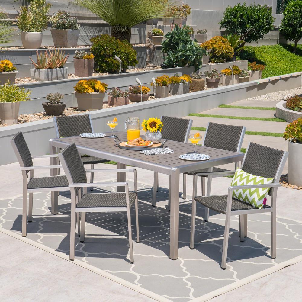 Noble House Leeds Gray 7 Piece Aluminum Outdoor Dining Set