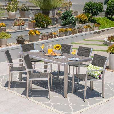 Cape C Silver 7 Piece Aluminum And Wicker Outdoor Dining Set With Gray Faux Wood