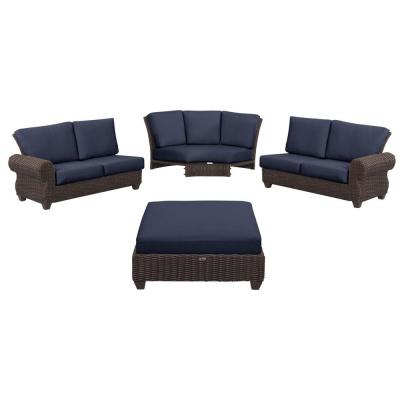 Mill Valley 4-Piece Brown Wicker Outdoor Patio Sectional Sofa Set with CushionGuard Midnight Navy Blue Cushions