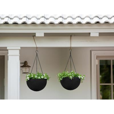 13.8 in. Dia Anthracite Round Resin Hanging Rattan Planter (2-Pack)