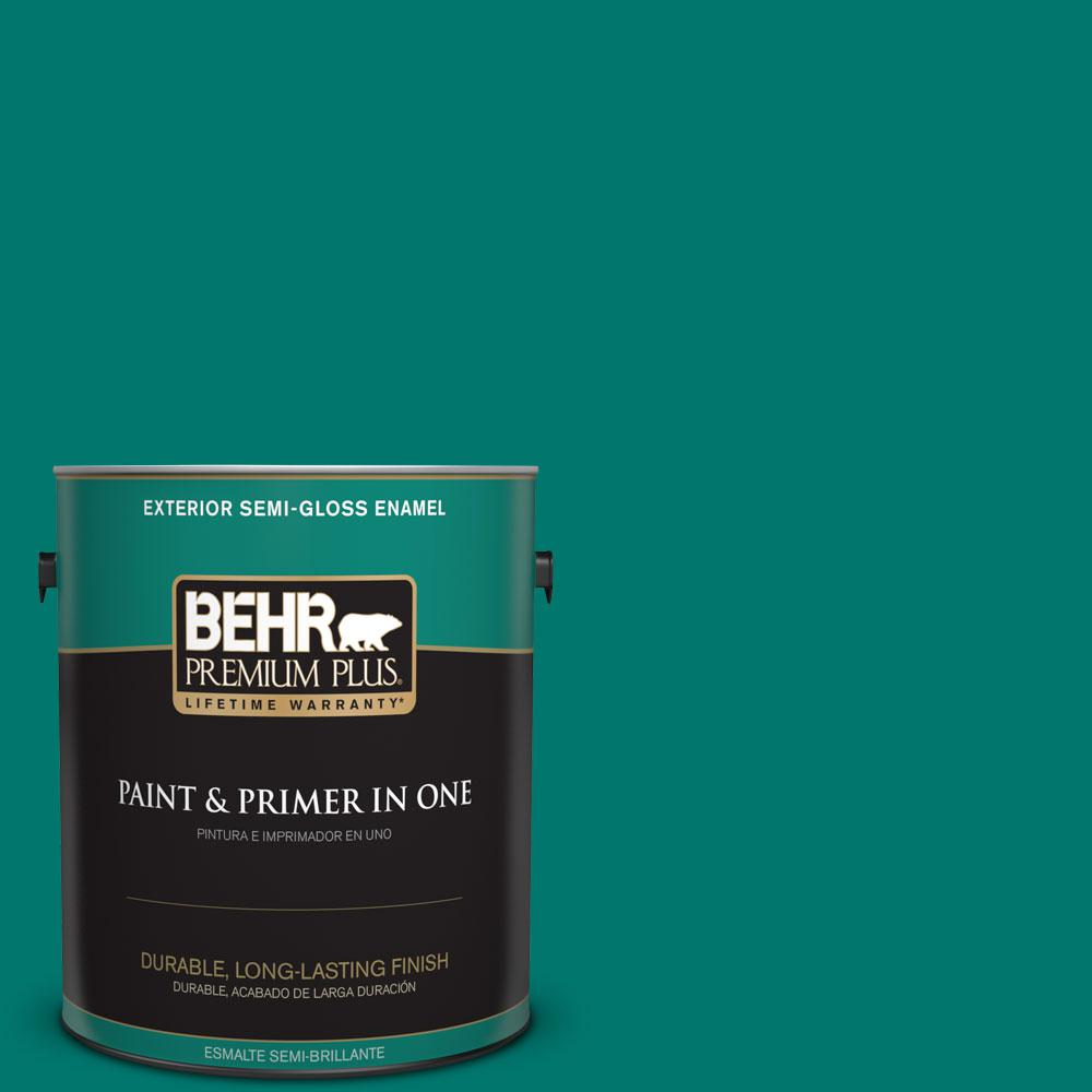 BEHR Premium Plus 1-gal. #490B-7 Mermaid Harbor Semi-Gloss Enamel Exterior Paint