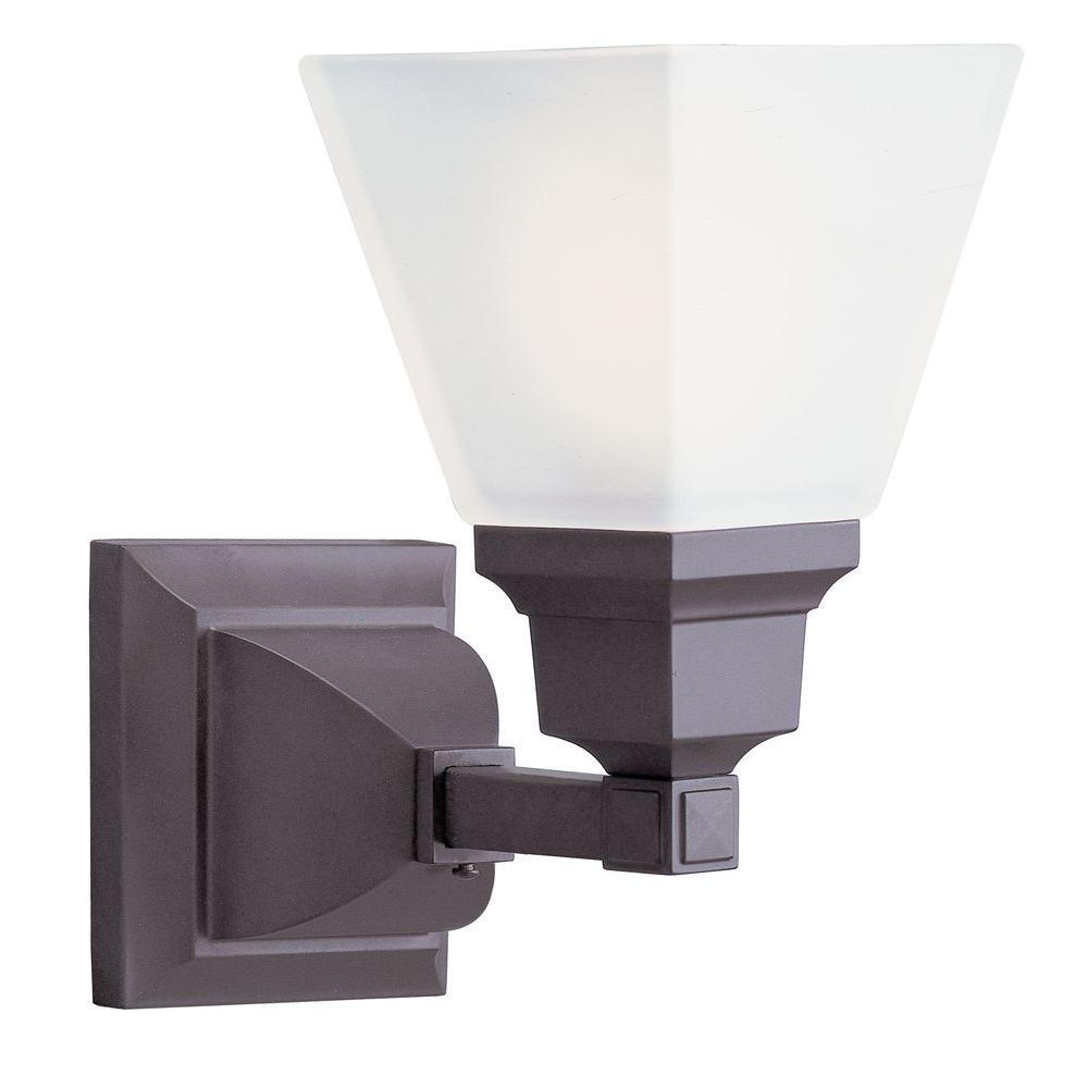 1-Light Bronze Bath Light with Satin Glass Shade