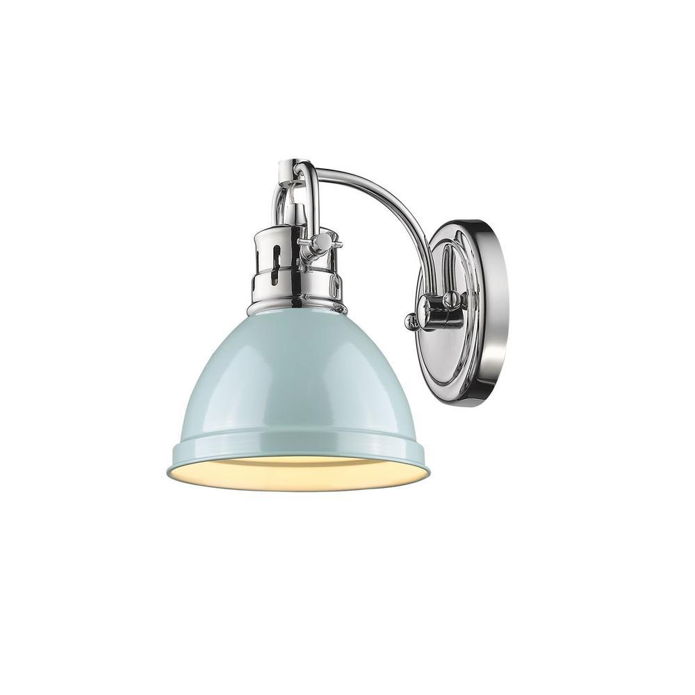 Duncan Chrome 1-Light Bath Light with Seafoam Shade