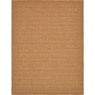 Outdoor Border Light Brown 9' x 12' Rug