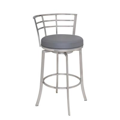 Viper 26 in. Bar Stool in Brushed Stainless Steel with Grey Pu upholstery