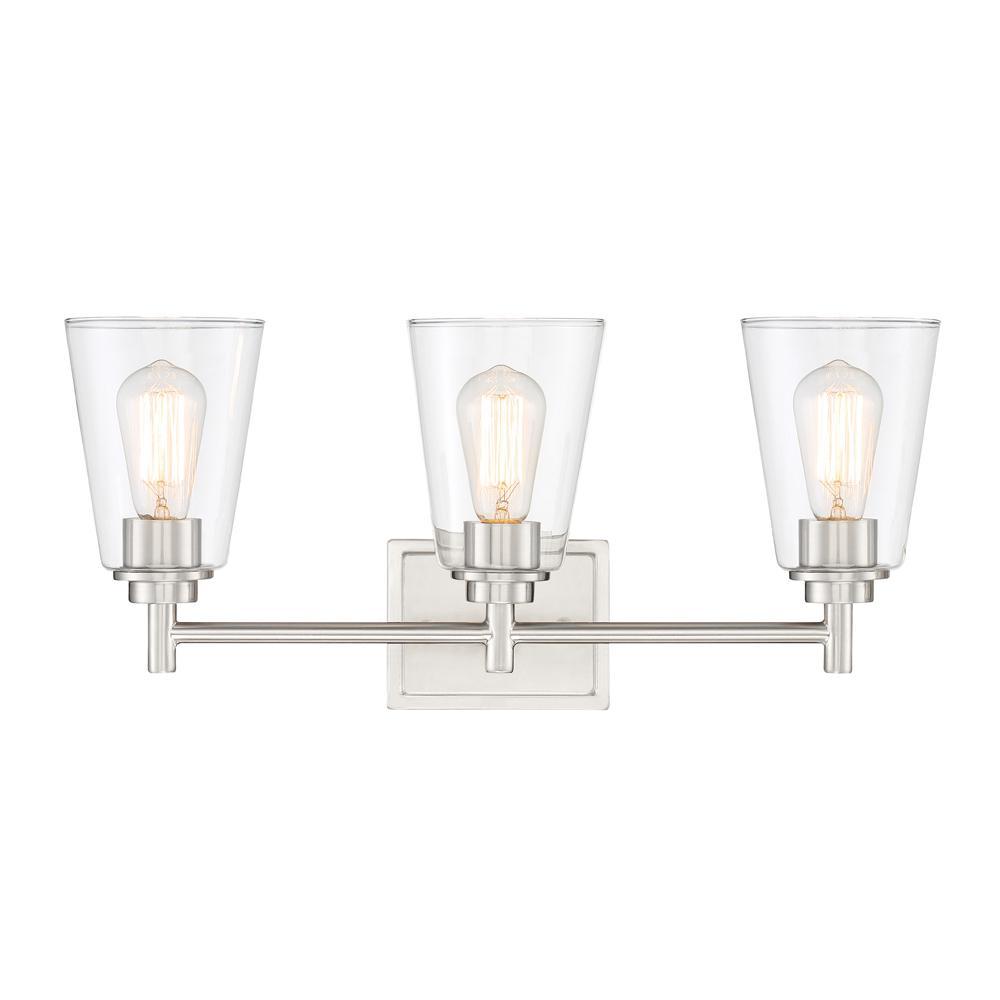 Westin 3-Light Satin Platinum Bath Bar Vanity Light