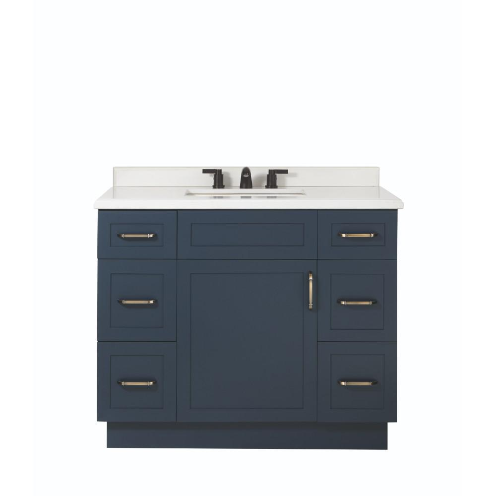 Home Decorators Collection Lincoln 42 in. W x 22 in. D x 34.5 in. H Vanity in Midnight Blue with Ceramic Vanity Top in White with White Basin