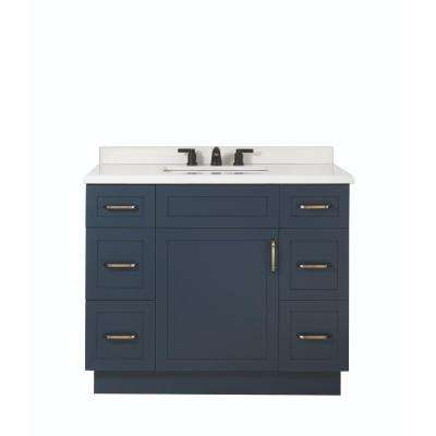 Lincoln 42 in. W x 22 in. D x 34.5 in. H Vanity in Midnight Blue with Ceramic Vanity Top in White with White Basin