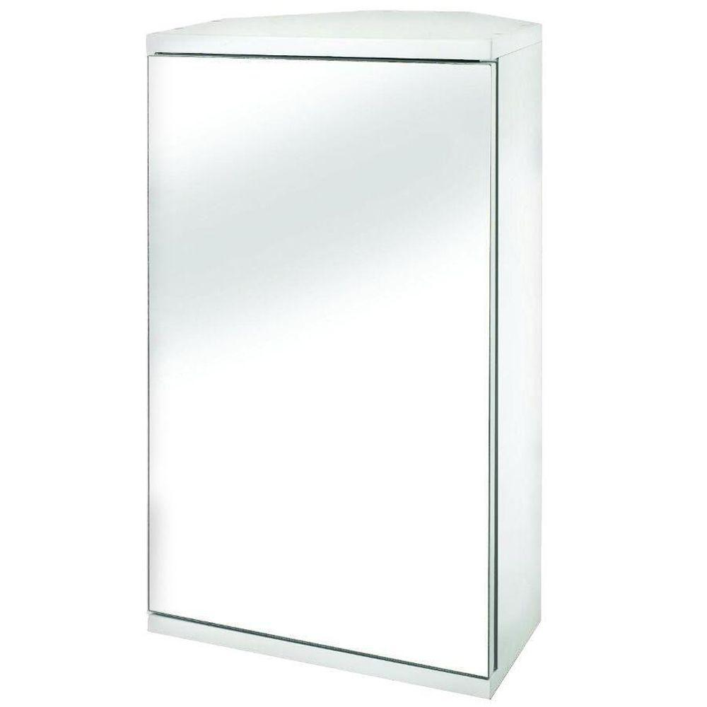 Croydex Simplicity 11 7 8 In W X 19 H 9 2 5 D Framed Surface Mount Corner Bathroom Medicine Cabinet White Wc257222yw The Home Depot