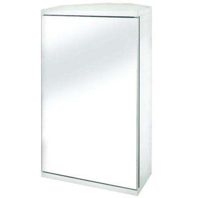 Simplicity 11-7/8 in. W x 19-7/8 in. H x 9-2/5 in. D Framed Surface-Mount Corner Bathroom Medicine Cabinet in White