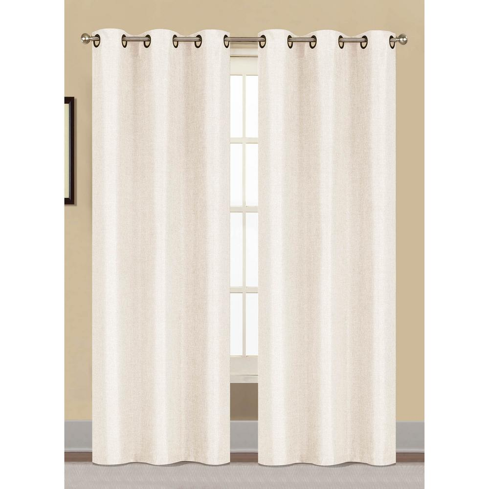 Semi Opaque Willow Textured Woven 96 In L Grommet Curtain Panel Pair White