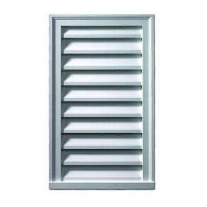 Functional and Smooth Pine 18 Width x 24 Height Vertical Gable Vent with 1 x 4 Flat Trim Frame Ekena Millwork GVWVE18X2401SFUPI Unfinished