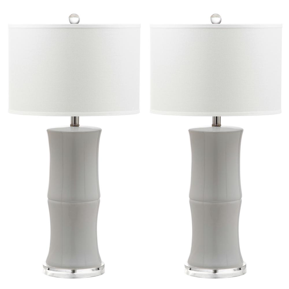 Bamboo 29 in. White Table Lamp (Set of 2)