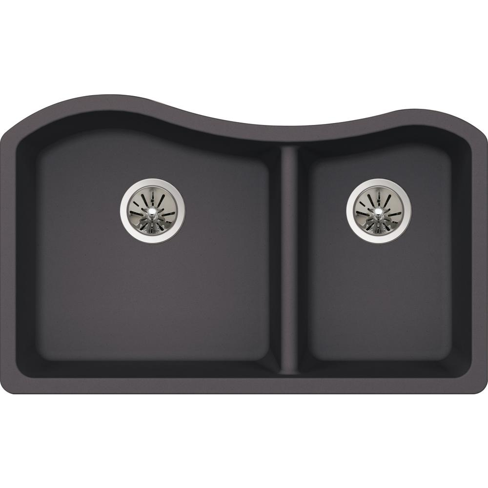 Premium Quartz Undermount Composite 33 in. Double Bowl Kitchen Sink in