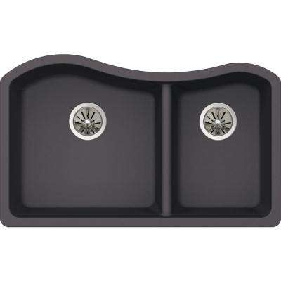 Premium Quartz Undermount Composite 33 in. Rounded 50/50 Double Bowl Kitchen Sink in Charcoal