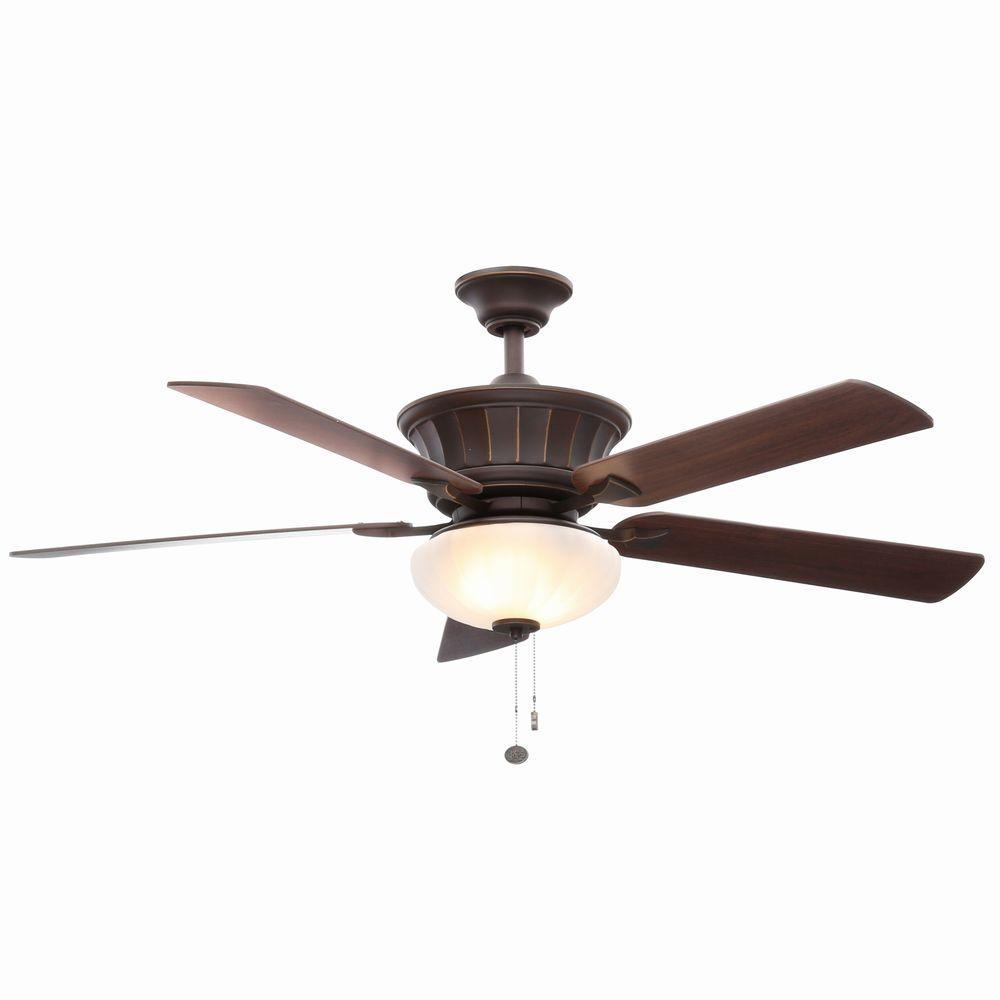 Hampton Bay Edenwilde 52 in. Indoor Oil Rubbed Bronze Ceiling Fan with Light Kit