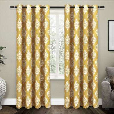 Medallion 52 in. W x 84 in. L Woven Blackout Grommet Top Curtain Panel in Sundress Yellow (2 Panels)