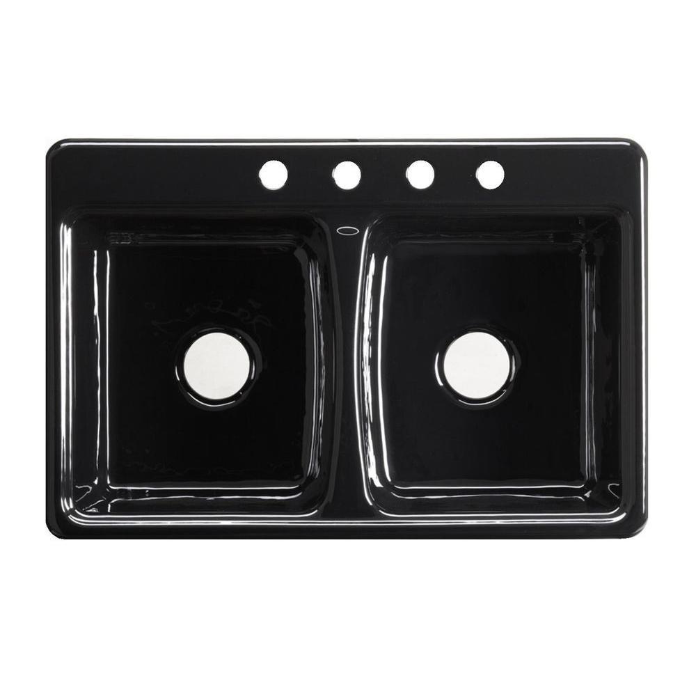 KOHLER Deerfield Self-Rimming Cast Iron 33x22x8.625 4-Hole Double Bowl Kitchen Sink in Black Black