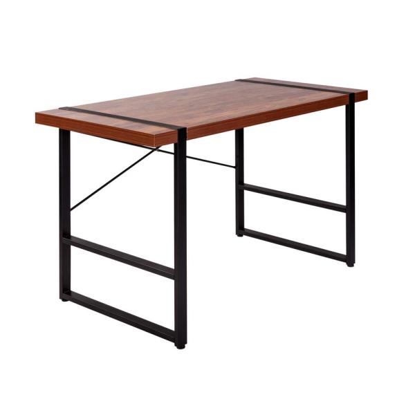 OneSpace Bourbon Foundry Golden Cherry Writing Desk with Black Steel