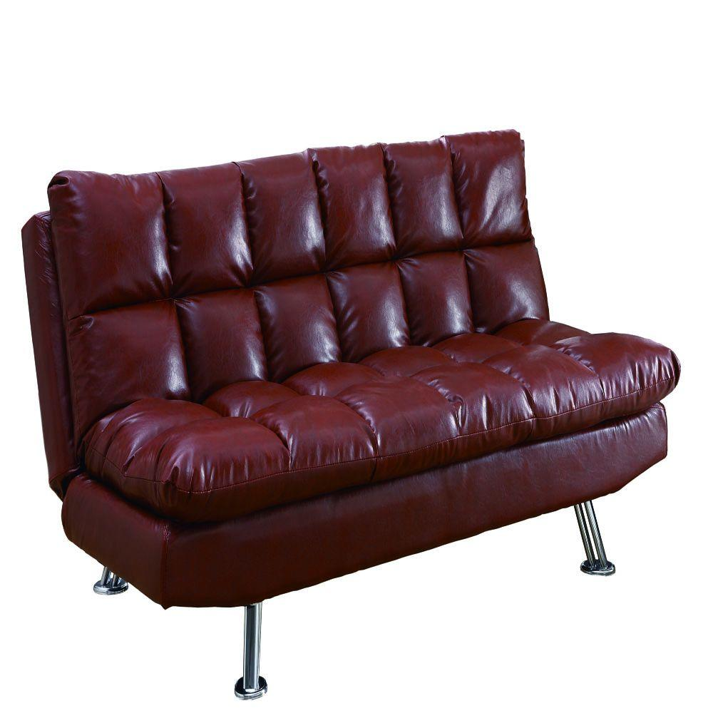 Monarch Specialties Red Leather Look Click Clack Futon - DISCONTINUED