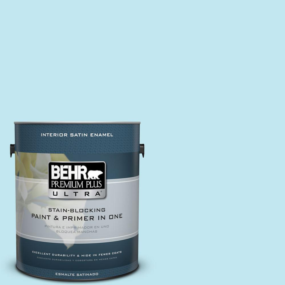 BEHR Premium Plus Ultra 1-gal. #520A-2 Ice Flower Satin Enamel Interior Paint