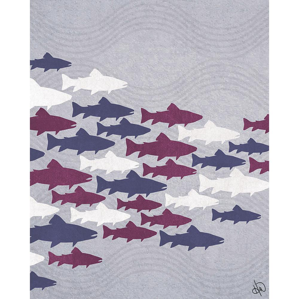 "16 in. x 20 in. ""Purple Fish Shoal"" Planked Wood Wall"