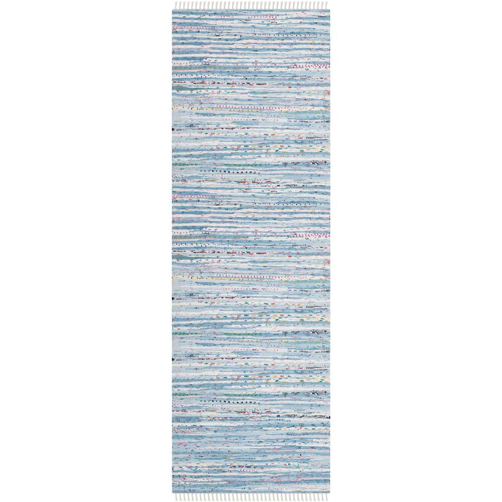Rag Rug Light Blue/Multi 2 ft. x 10 ft. Runner