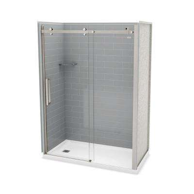 Utile Metro 32 in. x 60 in. x 83.5 in. Left Drain Alcove Shower Kit in Ash Grey with Brushed Nickel Shower Door
