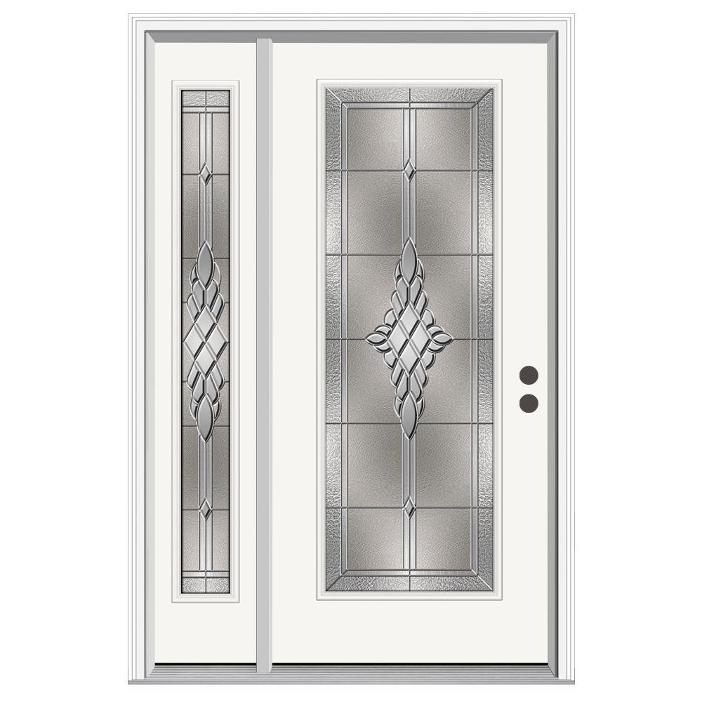 Jeld wen 52 in x 80 in full lite hadley primed steel for Jeld wen front entry doors