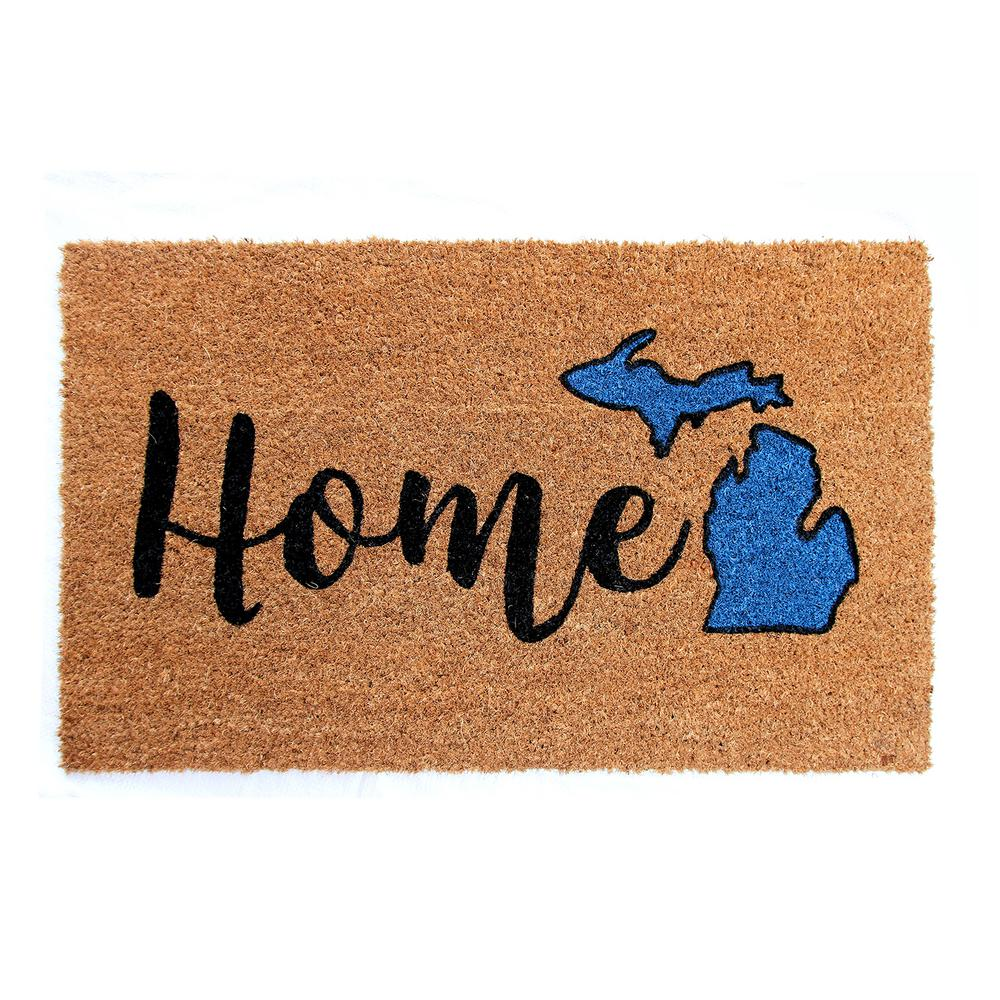 Trafficmaster Printed Michigan Home 18 In X 30 In Vinyl Backed Natural Coir Door Mat Hdp 00215 The Home Depot