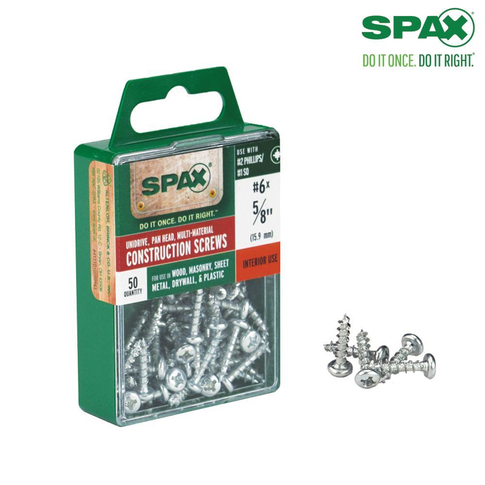 #6 x 5/8 in. Philips Square Drive Pan Head Full Thread Zinc Coated Multi-Material Screw (50 per Box)