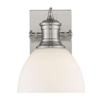 Hines 1-Light Pewter with Opal Glass Bath Vanity Light