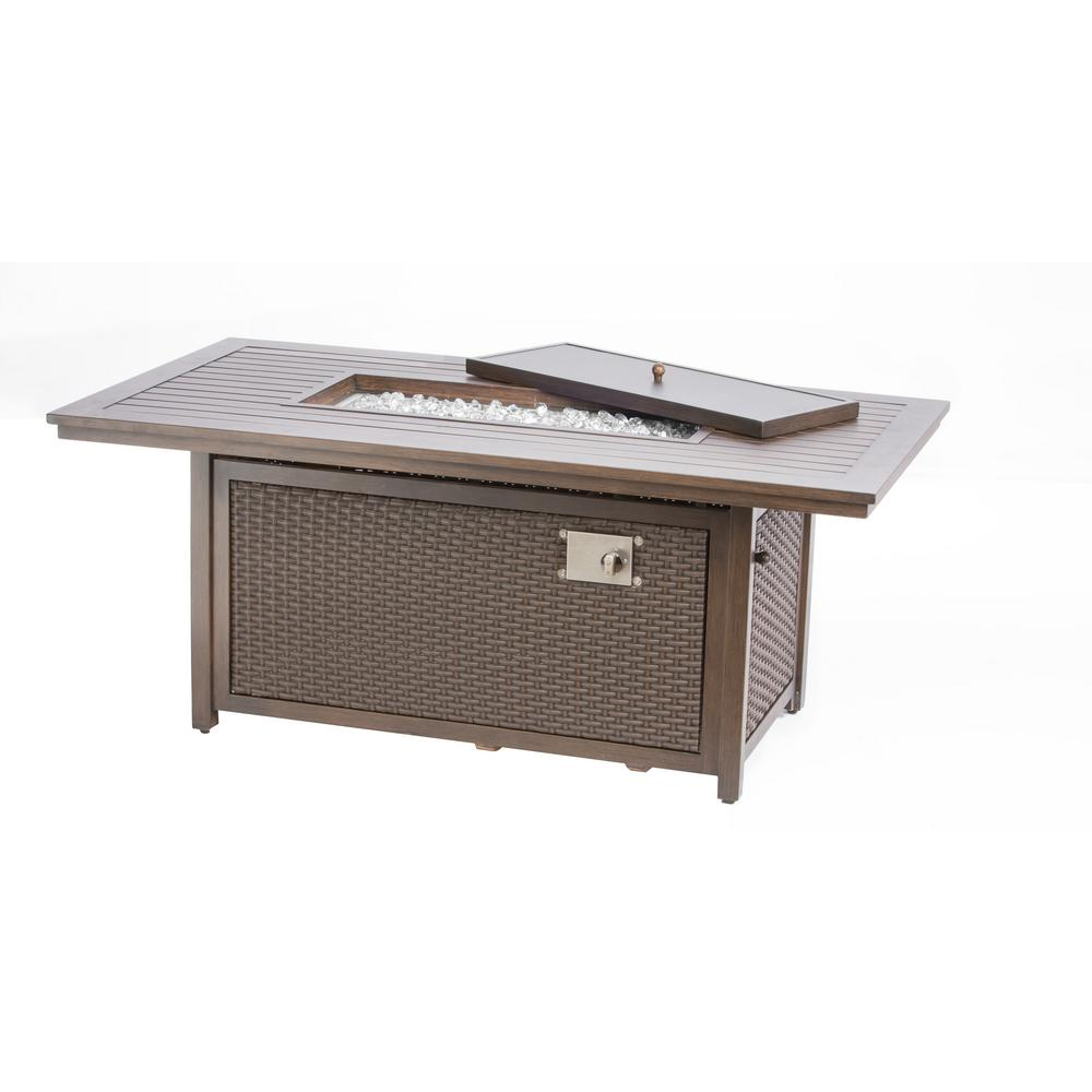 Alfresco Lexington 61 in. x 25 in. Rectangular Aluminum Gas Fire Pit with Glacier Ice Firebeads