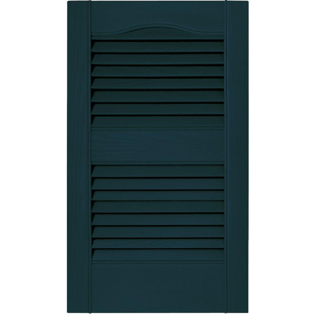 15 in. x 25 in. Louvered Vinyl Exterior Shutters Pair in