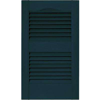 15 in. x 25 in. Louvered Vinyl Exterior Shutters Pair in #166 Midnight Blue