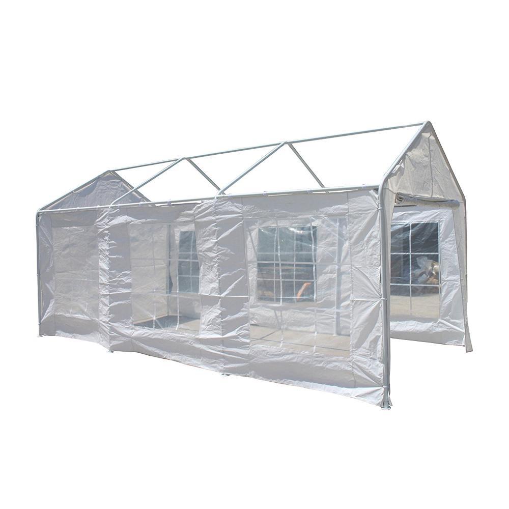 10 ft. x 20 ft. x 8.5 ft. White Polyethylene Sidewalls for Carport