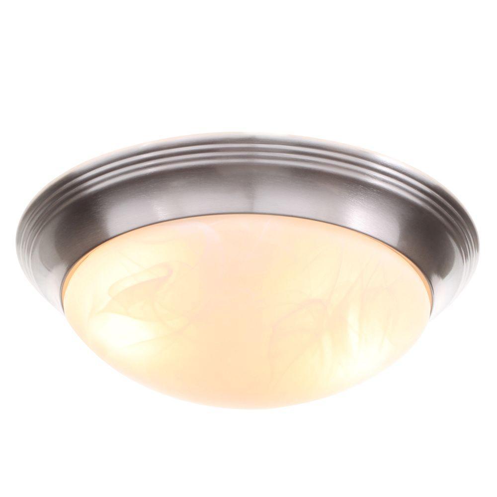 Alabaster Glass Collection 2-Light Brushed Nickel Flushmount