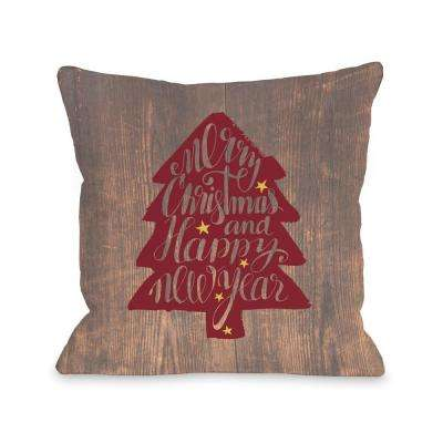 Christmas Tree Wood 16 in. x 16 in. Decorative Pillow