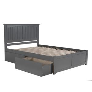 Nantucket King Platform Bed with Flat Panel Foot Board and 2 Urban Bed Drawers in Grey