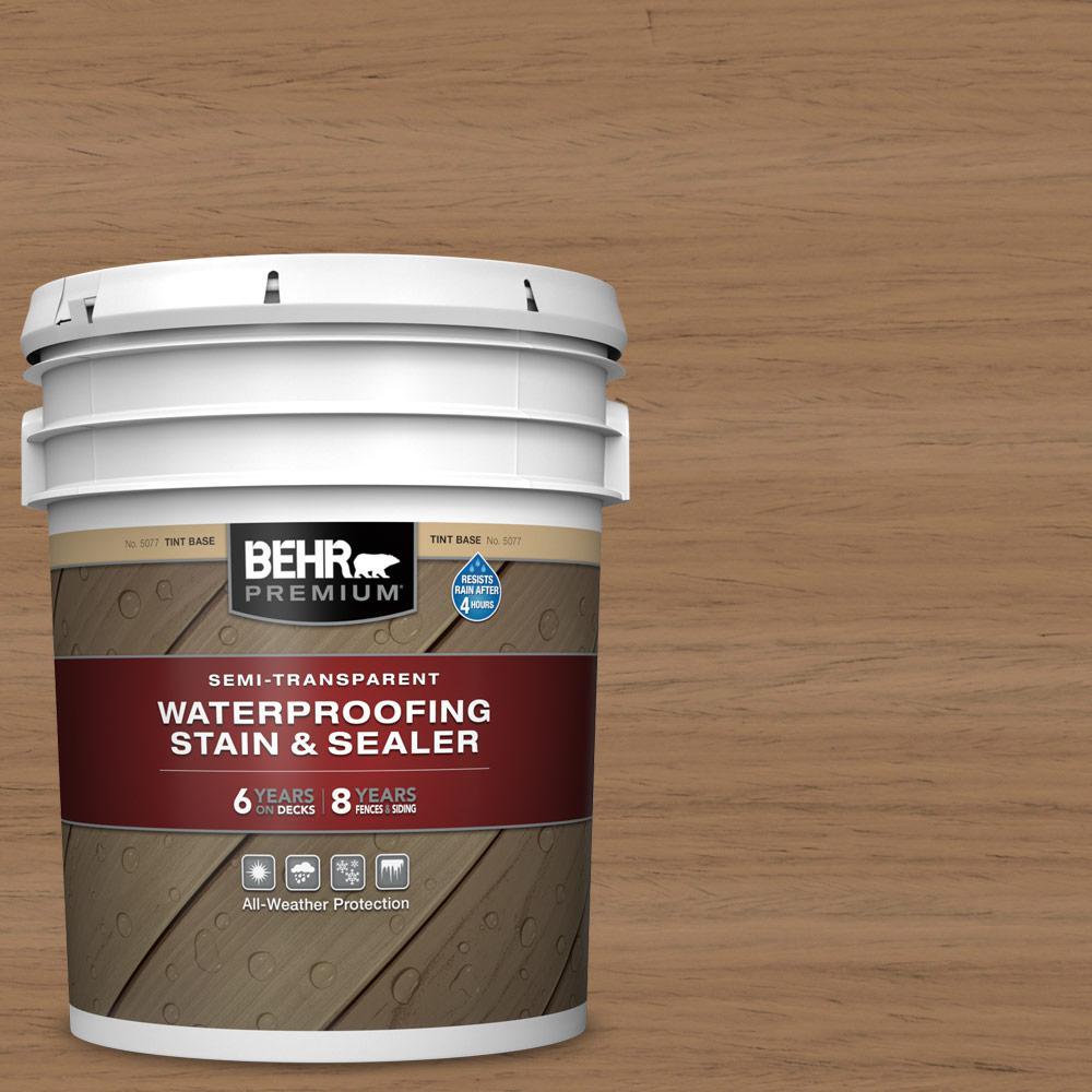 BEHR Premium 5 gal. #ST-158 Golden Beige Semi-Transparent Waterproofing Exterior Wood Stain and Sealer