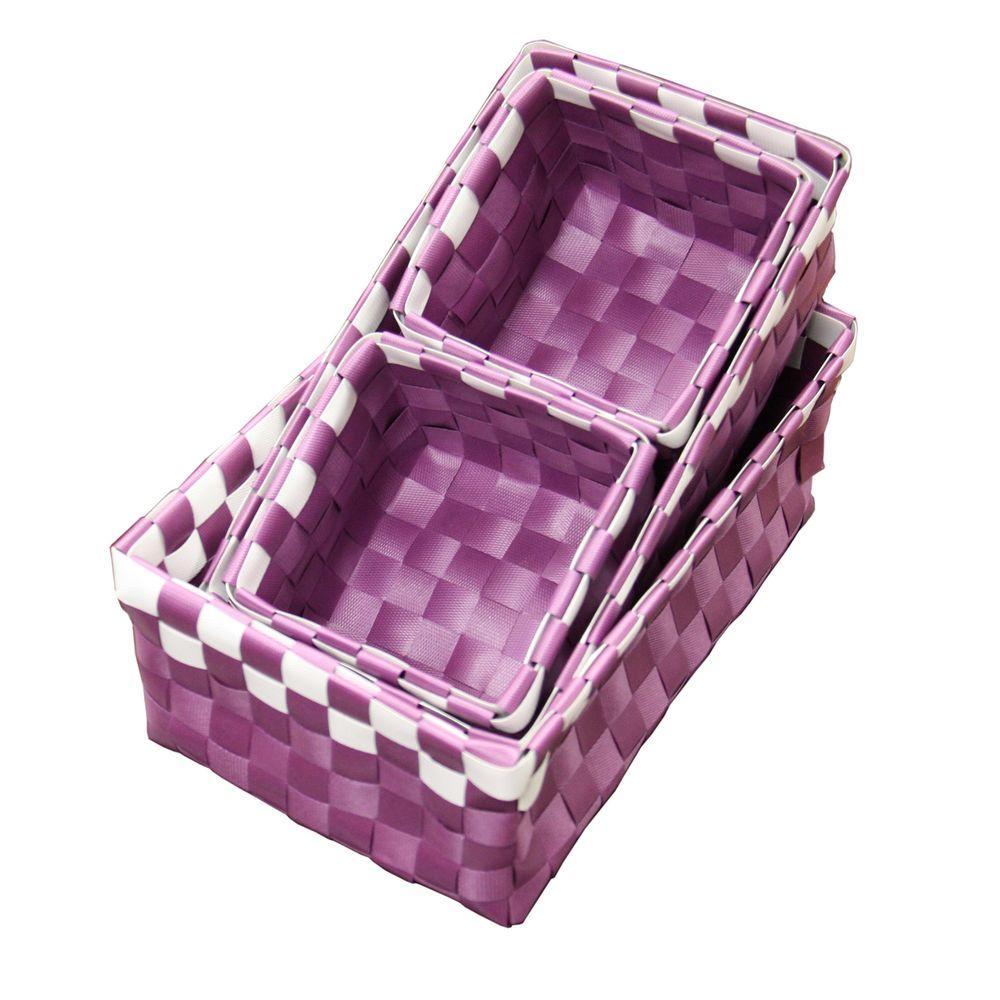 3.75 in. x 3.25 in. Polypropylene Purple Tray (Set of 4)