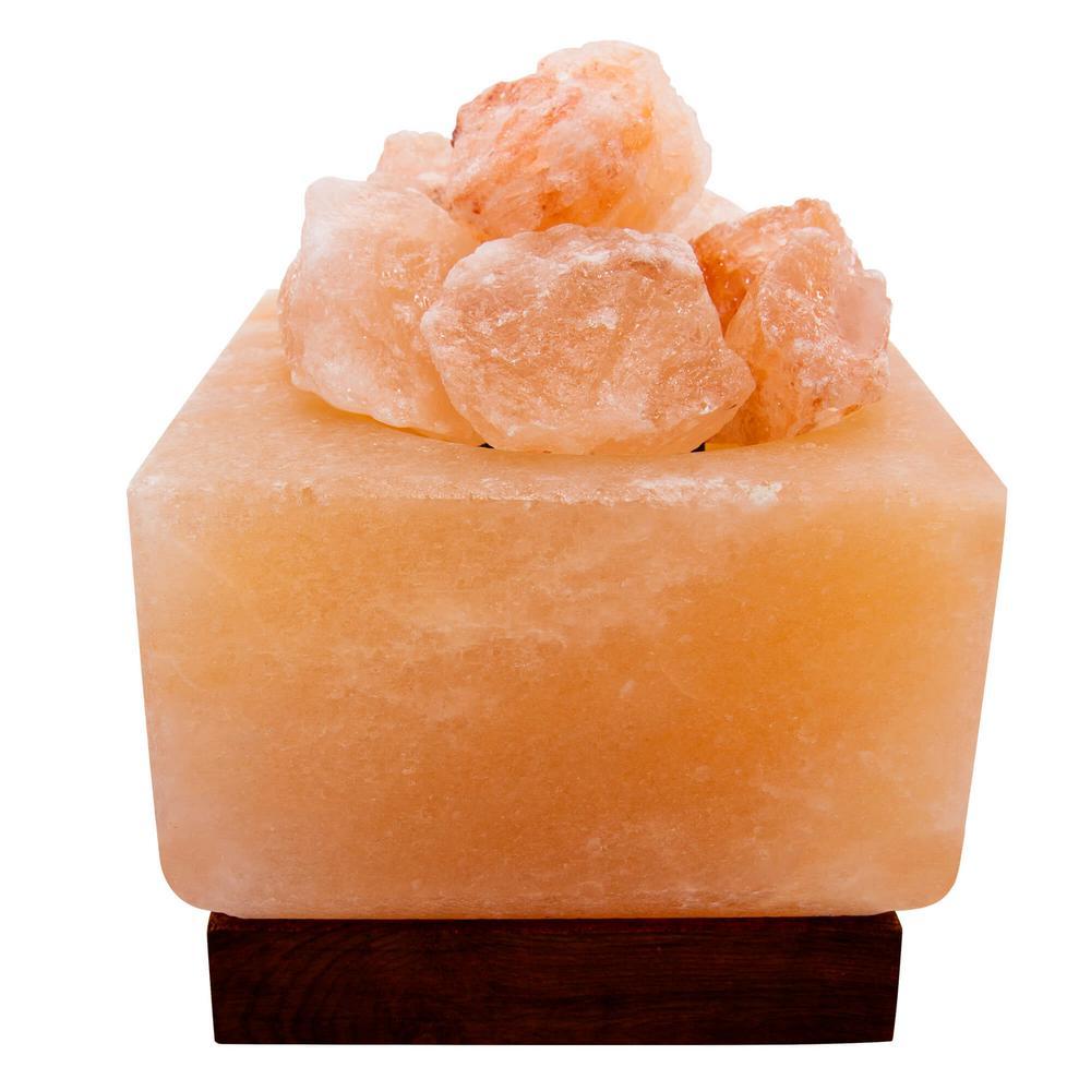 Natural Himalayan Salt 6 in. Pink Lamp Air Purifying Pillar Mesh Style Metal Basket with Salt Chunks