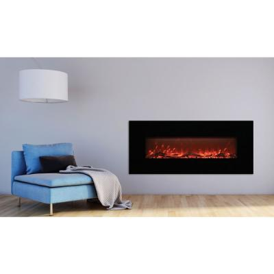 50 in. LED Wall-Mounted Electric Fireplace with Log Wood Effect