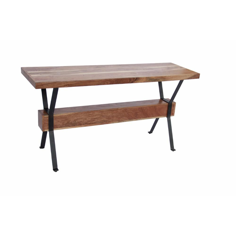 iron console table. Benzara Brown Elegant Wood And Iron Console Table