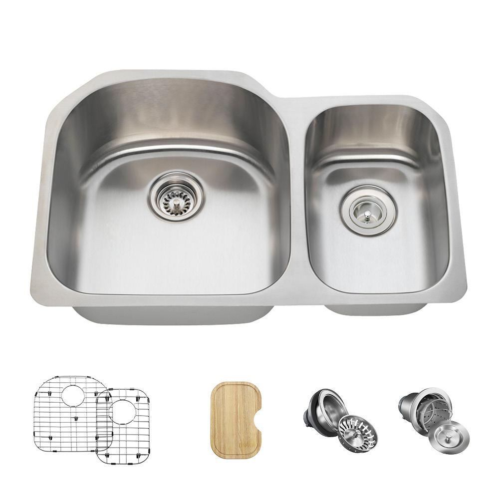 All-in-One Undermount Stainless Steel 32 in. Left Double ...