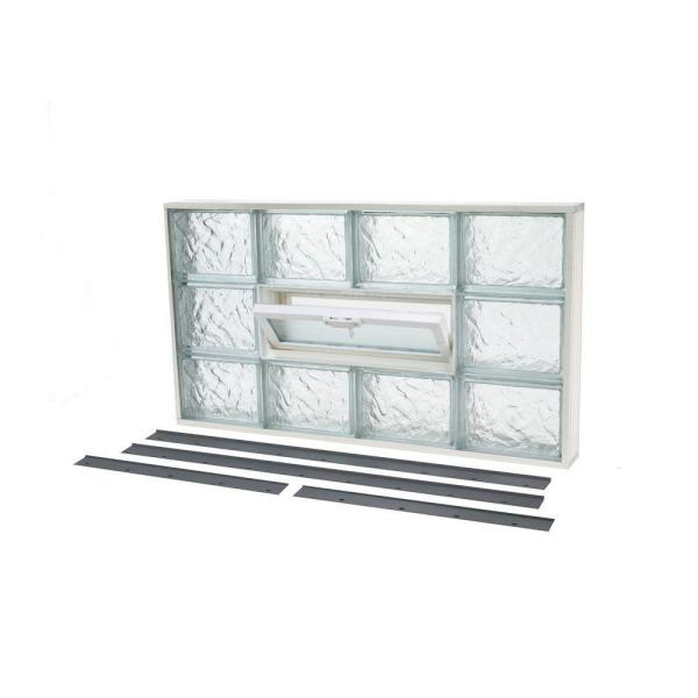 31.625 in. x 17.625 in. NailUp2 Ice Pattern Glass Block Window