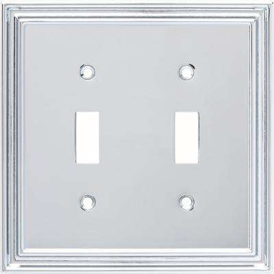 2-Gang Reflect Decorative Double Switch, Polished Chrome