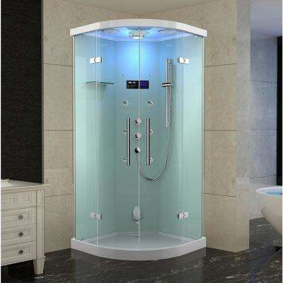 Ovato Grandmere 36 in. x 36 in. x 87 in. Neo-Round Steam Shower Enclosure with 6-Body Jets