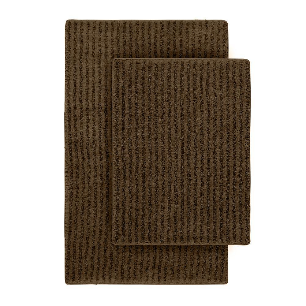 Sheridan Chocolate 21 in. x 34 in. Washable Bathroom 2-Piece Rug